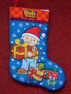 Quilted Christmas Stocking - Bob The Builder, approx Size: (H) x (W) Quilted around the design to create a effect. Plain fabric on the back. This stocking can be personalised with a child's name using fabric paint Quilted Christmas Stockings, Bob The Builder, Kid Names, Quilts, 3d, Create, Holiday Decor, Children, Fabric