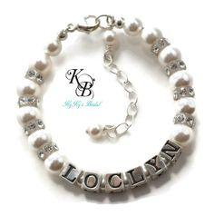 Flower Girl Jewelry, Personalized Bracelet, Flower Girl Gift, Personalized Gift, Little Girl Bracelet, Pearl Flower Girl Jewelry | KyKy's Bridal, Handmade Bridal Jewelry, Wedding Jewelry