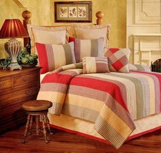 The Country Porch features the Oak Ridge Stripes Quilt and bedding accessories from C&F Enterprises.