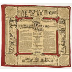 """Printed Handkerchief, French, c 1887. """"Mouchoir d'Instruction Militaire No. 10,"""" is tenth in a series of ten instructional handkerchiefs meant for distribution to French troops in the late 19th century. This handkerchief provides instructions on methods of crossing streams. Printed in red and black on an off-white ground. Cooper-Hewitt, National Design Museum"""