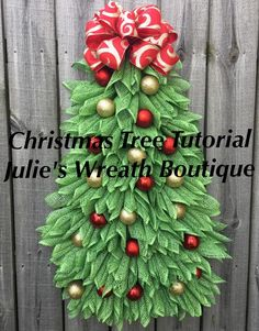 Christmas Tree Tutorial DIY Christmas Wreath Tutorial Video Tutorial Make Your Own Wreath. Mesh Christmas Tree, Unique Christmas Trees, Burlap Christmas, Holiday Wreaths, Holiday Crafts, Christmas Holidays, Christmas Decorations, Christmas Ornaments, Winter Wreaths