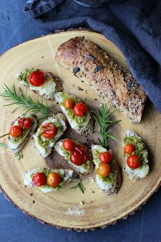 Pistachio and Yucca Crostini - This Pistachio and Yucca Crostini with fresh roasted tomatoes is made entirely from plant based ingredients. A fabulous vegan choice to serve as an appetizer or snack.  A perfect recipe for the Holidays!