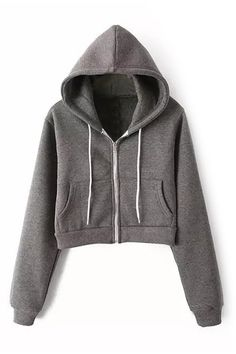 To find out about the Grey Hooded Long Sleeve Pockets Crop Sweatshirt at SHEIN, part of our latest Sweatshirts ready to shop online today! Sweater Hoodie, Cropped Hoodie, Pullover, Zip Hoodie, Cute Lazy Outfits, Casual Outfits, Latest Street Fashion, Korean Fashion, Tumblr Outfits