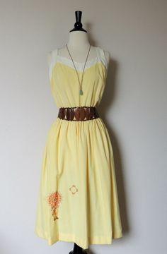 Vintage Sun Dress with Stitch NATIVE AMERICAN Motif. $25.00, via Etsy.