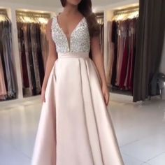 Sparkly Satin Pink Beaded Long Prom Dress With Open Back - Long prom dresses Sparkly Prom Dresses, Beaded Prom Dress, Backless Prom Dresses, Prom Dresses Online, Modest Dresses, Elegant Dresses, Pretty Dresses, Beautiful Dresses, Teen Prom Dresses