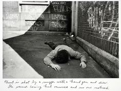 Duane Michals, Christ is shot by a mugger with a handgun and dies. The second coming had occurred and no one noticed. From Christ in New York, 1981, 6 of 6