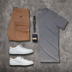This grey and cognac colors are a great combo..hmmm... Essentials by stylesofman