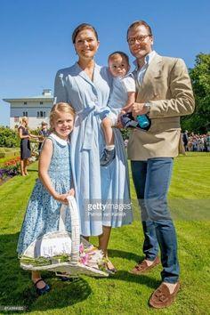 Princess Estelle, Crown Princess Victoria holding Prince Oscar and Prince Daniel.