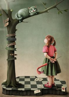 Alice In Wonderland:  #Alice and #Cheshire #Cat.