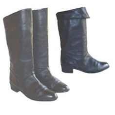 1980s Flat Black Leather Vintage Pirate Cuffed Boots 7M #Boots