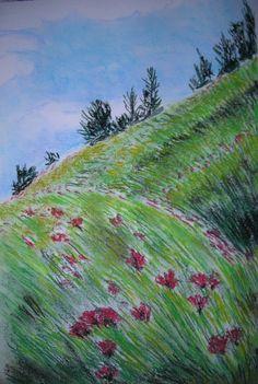 Sens-tu le vent te bercer? - pastels secs sur papier 32x50 cm - herbes, vent, montagne : Peintures par clau-mandarine