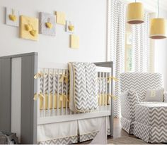 Grey, yellow, and white baby nursery scheme. Understated chic. # babyswag