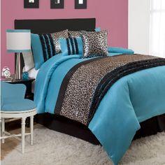 Shop for Lush Decor Kenya Black/Blue Comforter Set. Get free delivery On EVERYTHING* Overstock - Your Online Fashion Bedding Store! Bedroom Sets, Dream Bedroom, Bedroom Decor, Bedroom Stuff, Theme Bedrooms, Bedroom Interiors, Bedroom Black, Trendy Bedroom, Room Themes