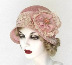 A wide brimmed cloche hat made in a 1920's vintage shabby chic style