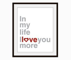 """Perfect gift for my husband -- """"In My Life"""" was our wedding song. <3"""