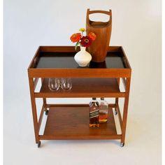 Image of Danish Modern Teak Bar Cart or Tea Trolley Tray