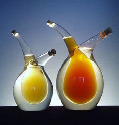 Double glass bottle for vinegar and oilVinegar by CzechGlassArt