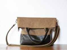 vegan tote bag brown canvas and suede fold over bag by SKmodell