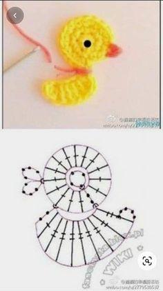 Appliques Au Crochet, Crochet Flower Patterns, Crochet Flowers, Knitting Patterns, Crochet Diagram, Crochet Chart, Crochet Motif, Diy Crochet, Crochet Birds
