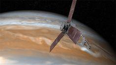 Perspectiva da sona Juno passando por Júpiter