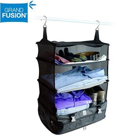 Stow-N-Go Portable Luggage System Suitcase Organizer - Large, BLUE Packable Hanging Travel Shelves & Packing Cube Organizer Travel Cubes, Travel Bags, Travel Luggage, Rv Storage, Laundry Storage, Large Suitcase, Cube Organizer, Packing Cubes, Travel Organization