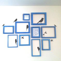 Picture frame collage with bird wall vinyls.