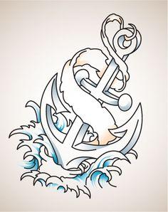 Amazing Banner Anchor Tattoo Design