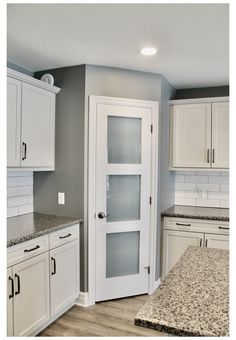Kitchen Pantry Doors, Glass Kitchen Cabinet Doors, Pantry Room, Kitchen Pantry Design, Kitchen Redo, Kitchen Layout, Home Decor Kitchen, Kitchen Interior, Corner Kitchen Pantry