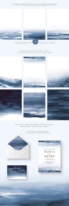 Watercolor Backgrounds - Indigo - Textures (ad)