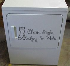 Clean, Single, Looking for Mate- Laundry Room vinyl Decal Sticker Humor - SOCKs Funny!