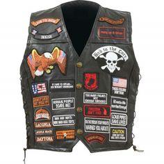 Diamond Plate Rock Design Genuine Buffalo Leather Biker Vest with 42 Patches #DiamondPlate