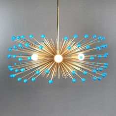 _hover aqua blue color beaded gold urchin chandelier on Mid Century Modern Chandelier, Mid Century Modern Decor, Solar Powered Lights, Solar Lights, Chandeliers, Chandelier Lighting, Hallway Lighting, Aqua Blue Color, Silver Color