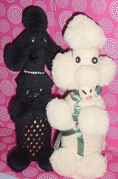 Vintage Hand Crocheted Poodle Dog Bottle Covers with buttons, sequins and ribbon embellishments.