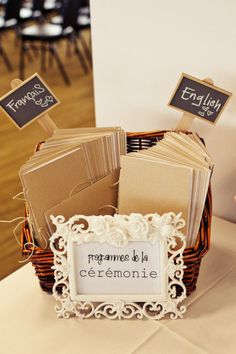 Wedding programs multiple languages. this would be cute for English and Spanish <3
