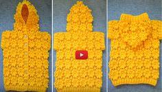 Crochet Jacket, Knit Vest, Crochet Cardigan, Crochet Girls, Crochet Baby Clothes, Crochet Toys Patterns, Stuffed Toys Patterns, Crochet Puff Flower, Step By Step Crochet