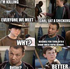 Carl eat a snickers! Walking Dead.