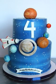 Una tarta impresionante para una fiesta espacio / An impressive cake for a space party