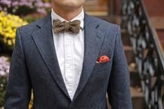 blue donegal tweed suit and bow tie