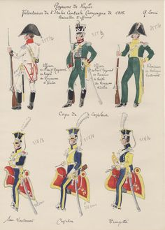 Royaume de Naples Volontaires de l'Italie Centrale Campagne de 1815  Bataillon d'officiers Corps de cavalerie