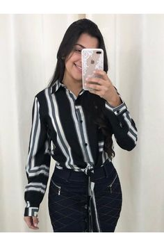 Camisa+Listradinha Striped Jersey, Black, Outfits