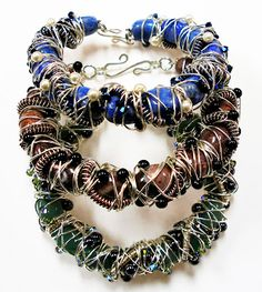 Eva Sherman Designs:  How to make this wire and bead bracelet.  #Wire #Jewelry #Tutorials