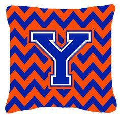 Letter Y Chevron Orange and Blue Fabric Decorative Pillow CJ1044-YPW1414