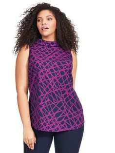 Plus Size ALFANI Painted Web Mock Neck Top