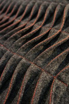 Tuck & Fold - fabric manipulation sample with contrasting stitch detail; textured wave patterns with fabric; creative sewing techniques #textiles
