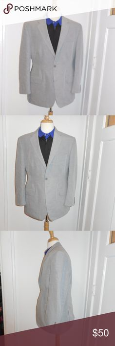 Calvin Klien Mens Blazer Grey Calvin Klein size 44 Calvin Klein Mens Sportcoat blazer jacket 2 button nice lapel double vent back really nice and was expensive! love it shows small signs of wear, small pen mark and small stain in lining not noticeable could use a press but thats all great jacket Mens suit coat size 44R really great quality and lots of life left grey Calvin Klein Suits & Blazers Sport Coats & Blazers