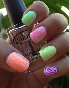 Stamped Neon Skittle Manicure