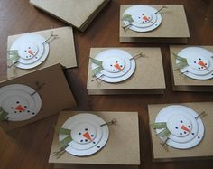 Handmade Christmas Cards, Rustic Snowman, Let it Snow, Set of 8