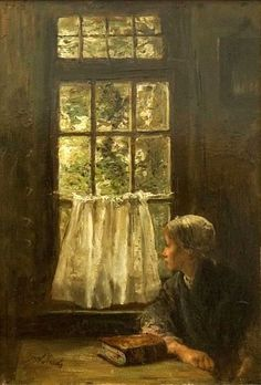 Jozef Israels [Dutch Realist Painter, Guide to pictures of works by Jozef Israels in art museum sites and image archives worldwide. Paintings I Love, Beautiful Paintings, Grafiti, Ecole Art, Dutch Painters, Woman Reading, Window Art, Dutch Artists, Henri Matisse