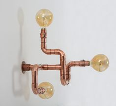 Wall Lamp made from welded plumbing copper fittings