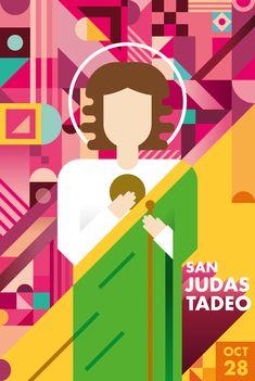 San Judas Tadeo. Poster of the catholic figure Saint Judas Tadeo. Using Gestalt Concepts of perception.